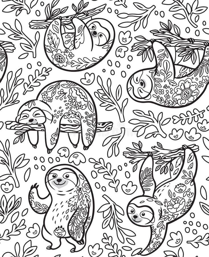 Preguiças bonitos com o ornamento floral no esboço Vector o teste padrão sem emenda ilustração stock