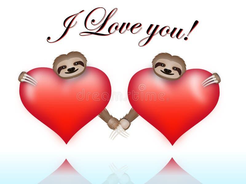 Preguiças dos pares no dia de Valentim fotos de stock