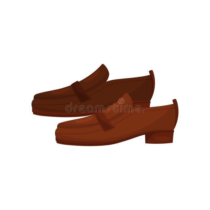 Preguiçosos de couro dos homens de Brown, vista lateral Sapatas ocasionais dos homens Calçados masculinos à moda Ícone liso do ve ilustração do vetor