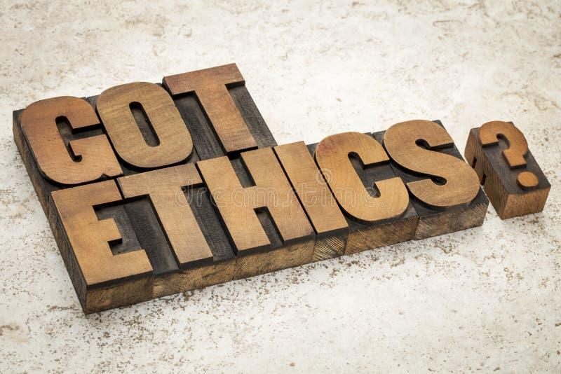 Pregunta conseguida de los éticas foto de archivo