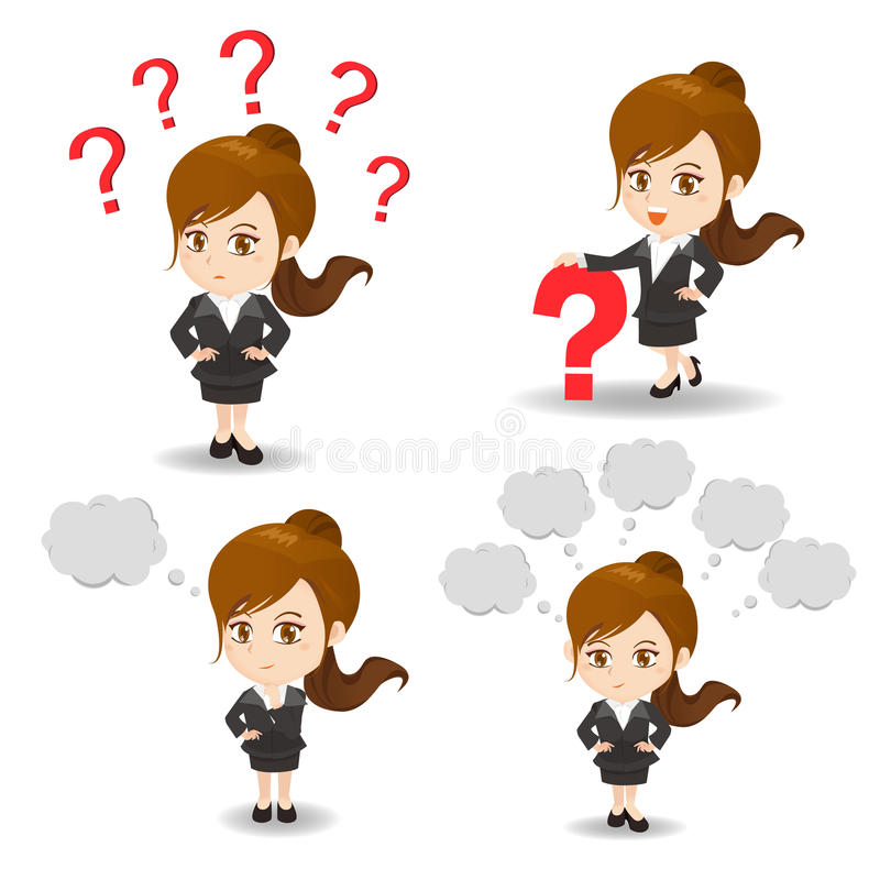 Pregunta de la mujer de negocios del ejemplo de la historieta libre illustration