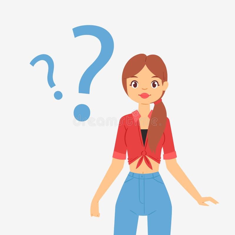 Pregunta de pensamiento que sueña el carácter pensativo preocupado muchacha de la mujer del soñador del vector del pánico de la m libre illustration