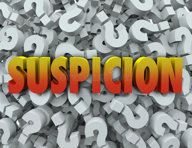 Pregunta Mark Background Wonder Suspect de la palabra de la sospecha ilustración del vector
