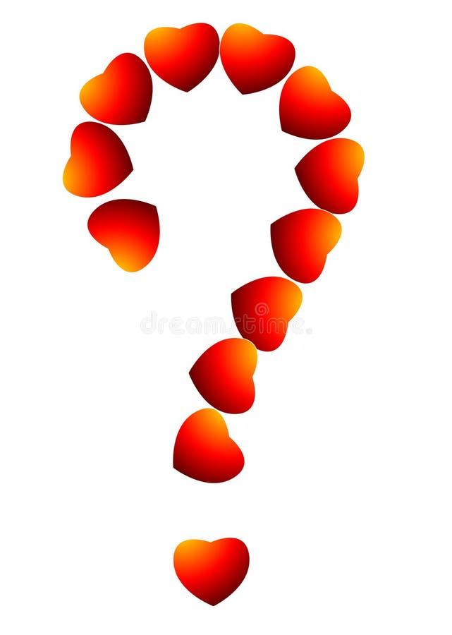 Pregunta roja del corazón stock de ilustración