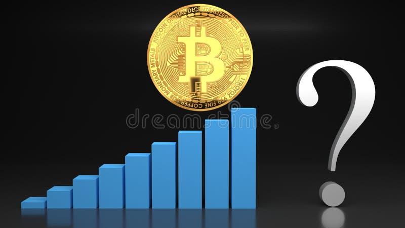 Pregunta sobre el desplome del precio de la burbuja del bitcoin, gráfico del valor que va abajo libre illustration
