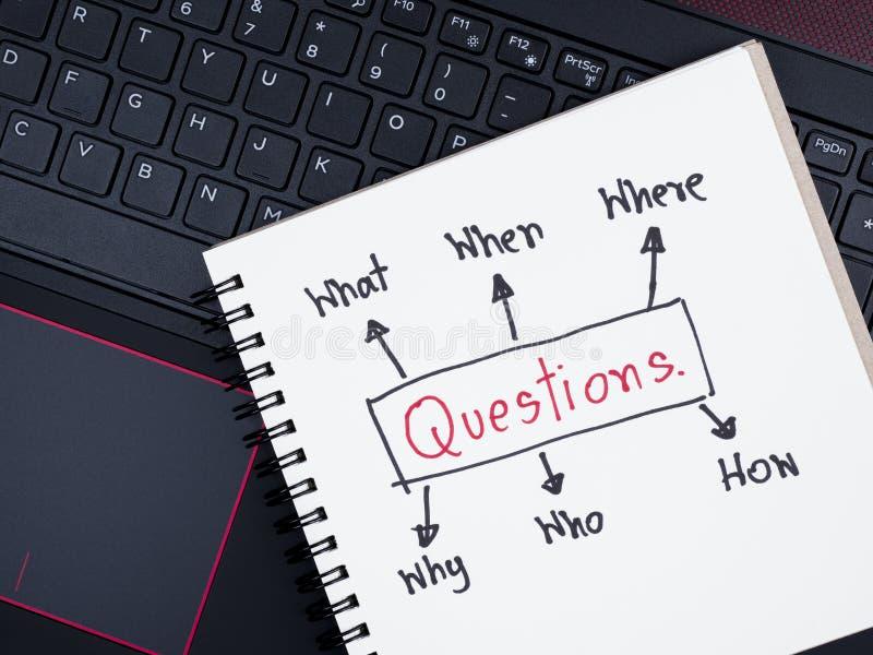 Preguntas de la escritura sobre el cuaderno con el teclado del ordenador portátil fotos de archivo