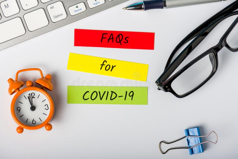 Preguntas frecuentes para Covid-19 - Neumonía de virus de la coronavirus de Wuhan Novel Qué necesita saber Concepto de cuarentena foto de archivo libre de regalías