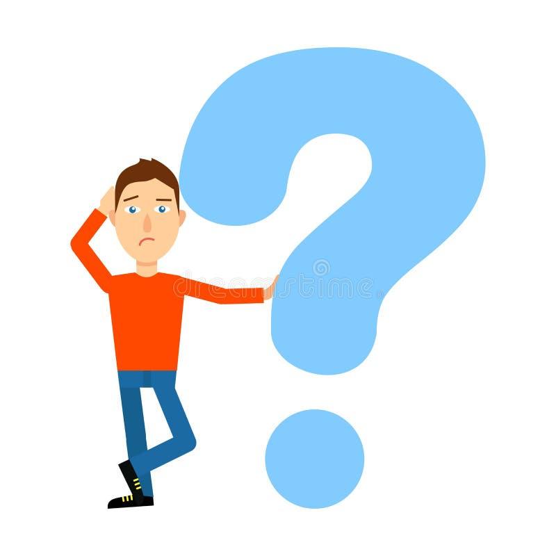 Preguntas sobre la cabeza individuo desconcertado con los signos de interrogación ilustración del vector