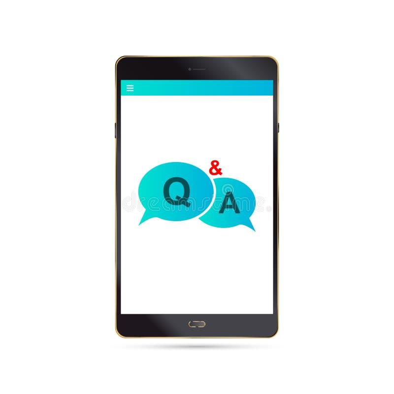 Preguntas y respuestas Concepto de la charla con la tableta libre illustration