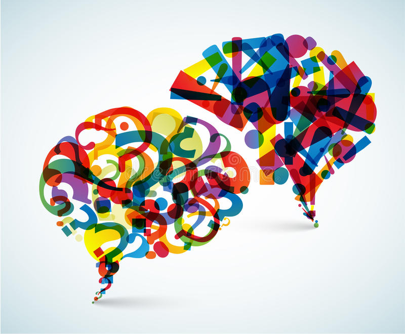 Preguntas y respuestas - ilustración abstracta stock de ilustración