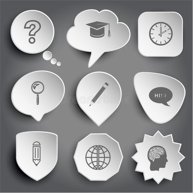 Pregunte la muestra, casquillo de la graduación, reloj, lupa, lápiz, cha stock de ilustración