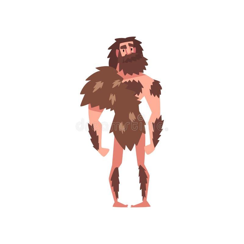 Prehistoric Bearded Man, Primitive Stone Age Caveman Wearing Animal Pelt Cartoon Character Vector Illustration. On White Background stock illustration