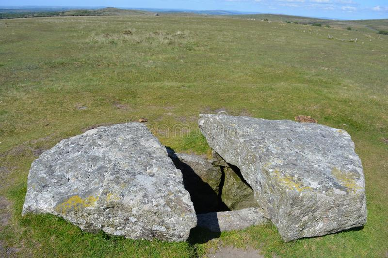 Prehistoric burial chamber, Dartmoor National Park, Devon,. Burial chamber or Cist, a prehistoric antiquity associated with the Neolithic to Middle Bronze Age royalty free stock photo