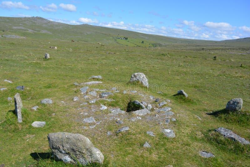 Prehistoric burial chamber Dartmoor National Park, Devon, UK royalty free stock image