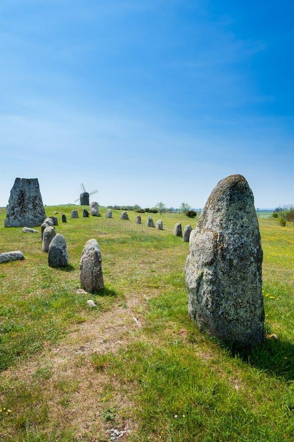 Prehistoric burial ground, Sweden. stock photos