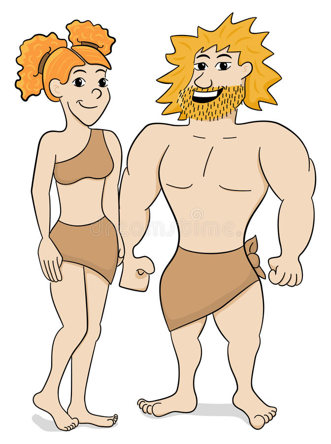 Free Prehistoric Cave Dweller Couple Royalty Free Stock Image - 52495706