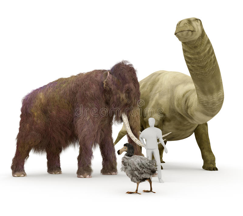 Prehistoric Extinct Animals To Human Size Comparison royalty free illustration