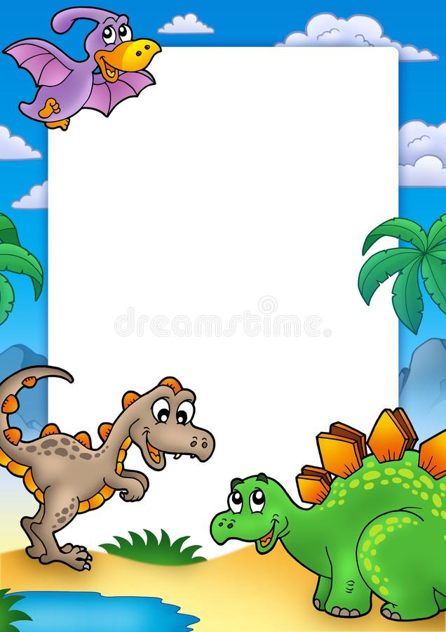 Prehistoric frame with dinosaurs stock images