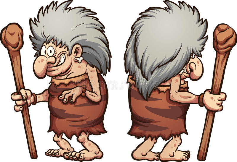 Prehistoric grandma. Cartoon prehistoric grandma, front and back. Vector clip art illustration with simple gradients, each on a separate layer stock illustration