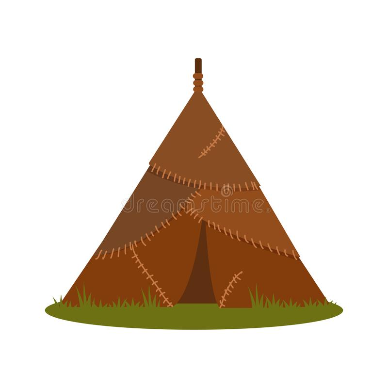 Prehistoric house made of animal skins, element of Stone Age vector Illustration on a white background. Prehistoric house made of animal skins, element of Stone vector illustration