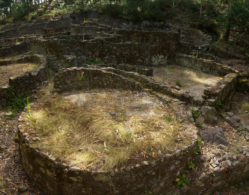 Prehistoric house ruins. Esposende, Portugal royalty free stock images