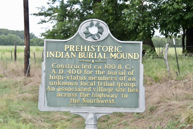 Prehistoric Indian Burial Mound Mississippi stock photo