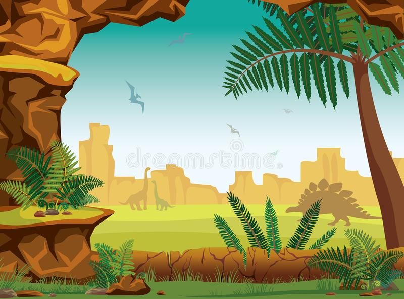 Prehistoric landscape - cave, dinosaurs, fern, mountains. Stone cave, green fern and grass, silhouette of dinosaurs brontosaur, pterodactyl, diplodocus and vector illustration