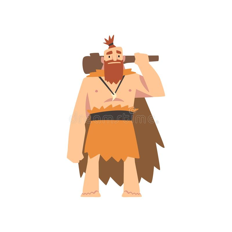 Prehistoric Muscular Bearded Man Wearing Animal Pelt, Primitive Stone Age Caveman Cartoon Character with Club Vector. Illustration on White Background stock illustration