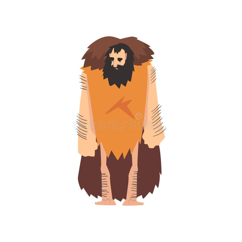 Prehistoric Muscular Bearded Man Wearing Animal Pelt, Primitive Stone Age Caveman Cartoon Character Vector Illustration. On White Background stock illustration
