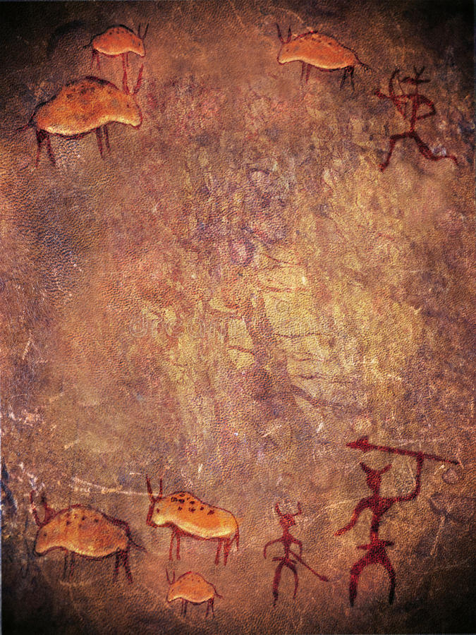 Prehistoric paint with hunters stock illustration