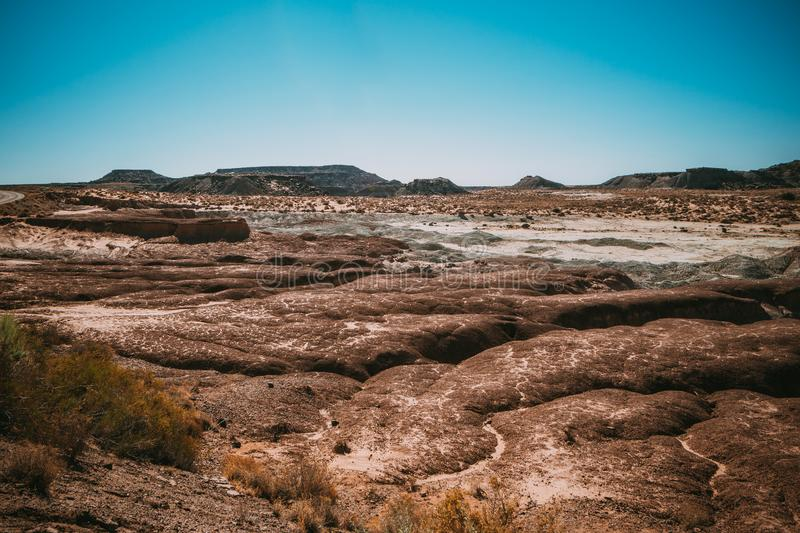 Prehistoric rock formations in Arizona`s Petrified Forest Nation royalty free stock images
