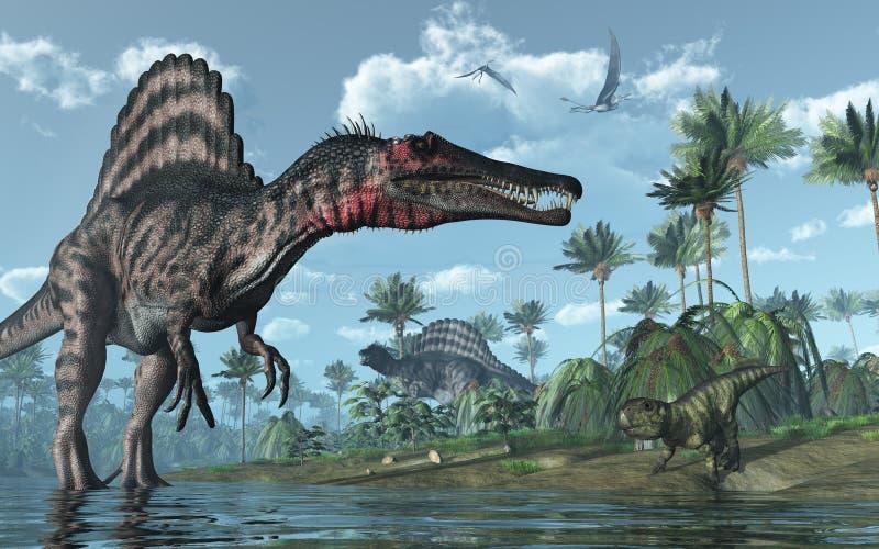 Prehistoric Scene with Dinosaurs vector illustration