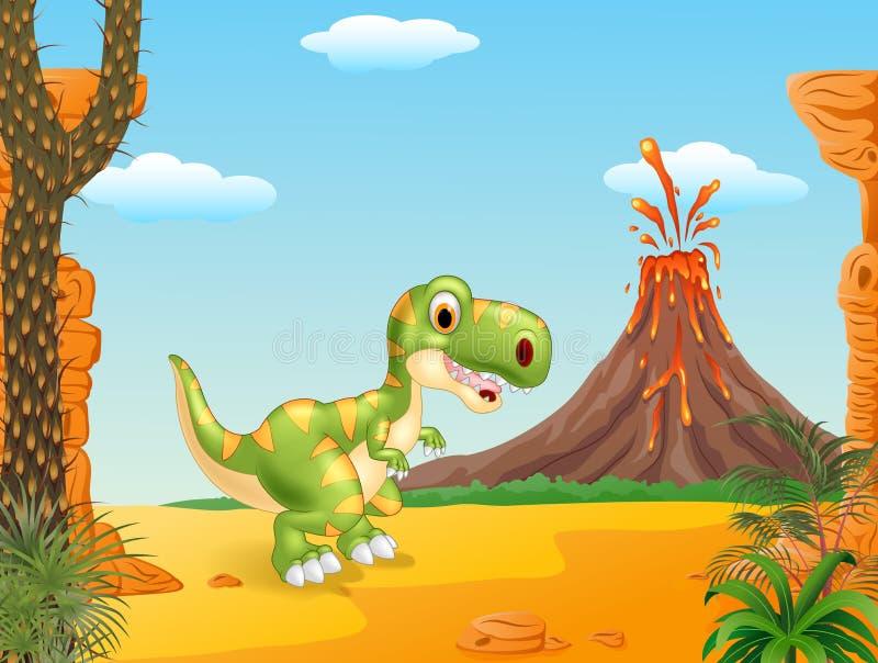 Prehistoric scene with happy tyrannosaurus dinosaur mascot royalty free illustration