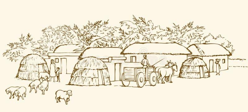 Prehistoric settlement. Vector engraving royalty free illustration