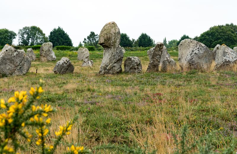 The prehistoric standing stone alignments of Carnac in Brittany royalty free stock photo