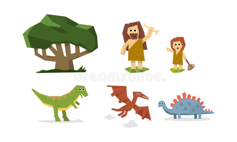 Prehistoric stone age, cute geometric primitive cave man, kid and dinosaurs vector Illustration royalty free illustration