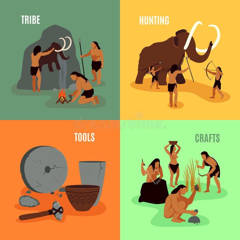 Prehistoric Stone Age 2x2 Images. Prehistoric stone age caveman being elements tribe hunting tools and crafts flat 2x2 images set vector illustration stock illustration