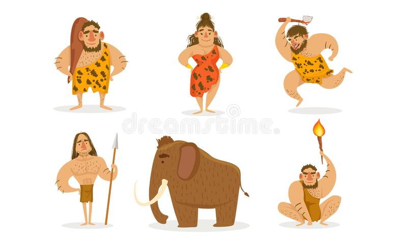 Prehistoric Stone Age Set, Primitive Men and Woman with Weapon, Mammoth Vector Illustration. On White Background royalty free illustration
