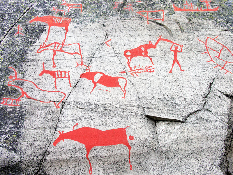 Prehistoric Stone Carving. Neolithic stone carvings at Alta; Norway royalty free stock image