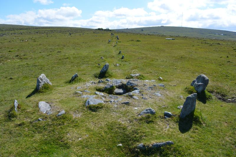 Prehistoric stone circle, Dartmoor National Park, Devon,. Stone circle and double row of standing stones, a prehistoric antiquity associated with the Neolithic stock image