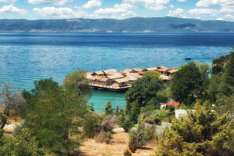 Prehistorical Palafitte Plocha Mikov Osadniczy absolwent, Ohrid jezioro obraz stock