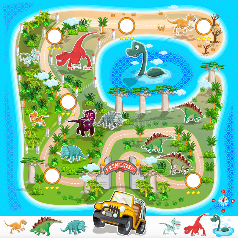 Prehistoryczna zoo mapy kolekcja 01 royalty ilustracja