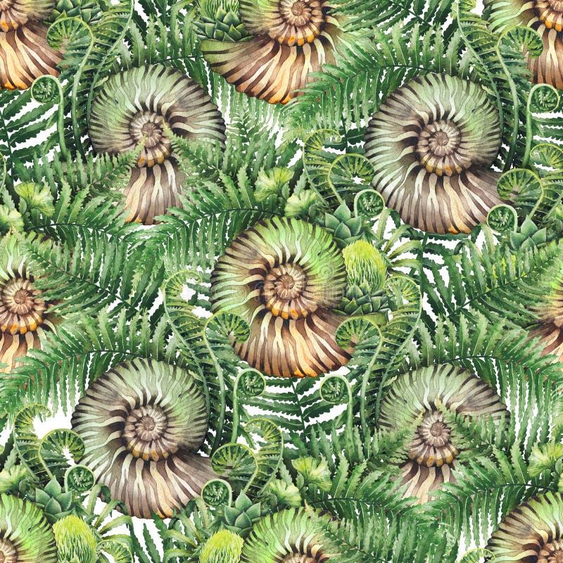 Prehistoryczne akwareli paproci i seashell gałąź royalty ilustracja