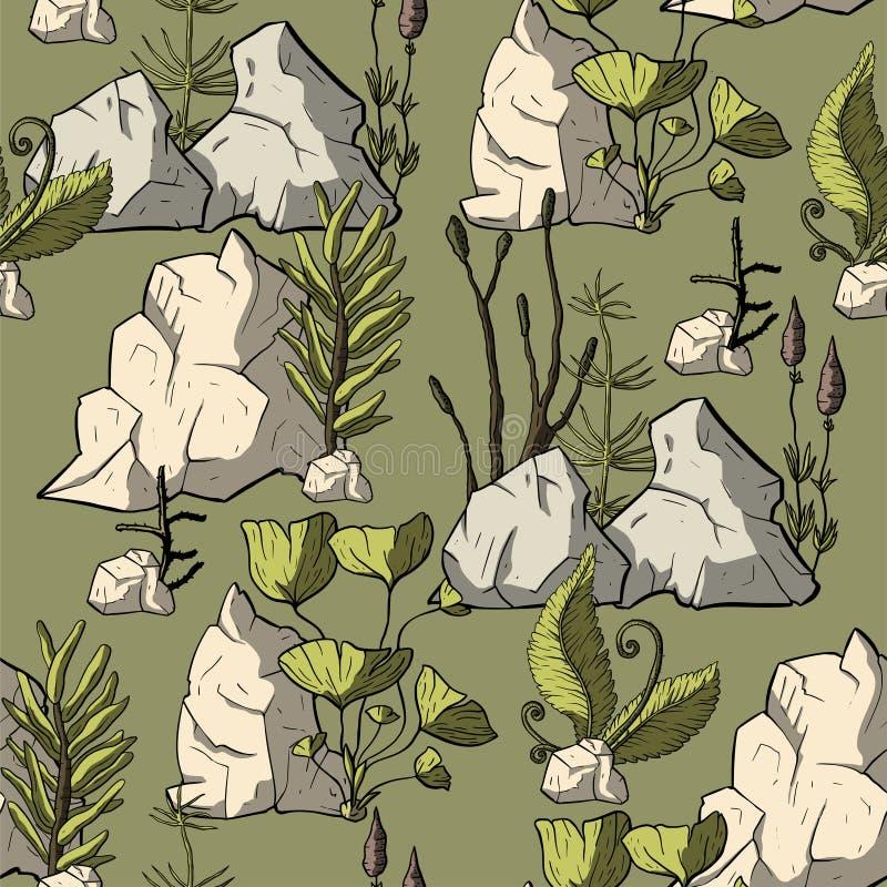 Prehistoryczne wektor rośliny royalty ilustracja