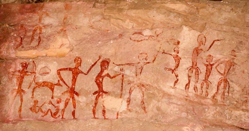 Prehistoryczni jama obrazy nad 4000 rok Khao Chan Ngam, Nakho zdjęcie stock