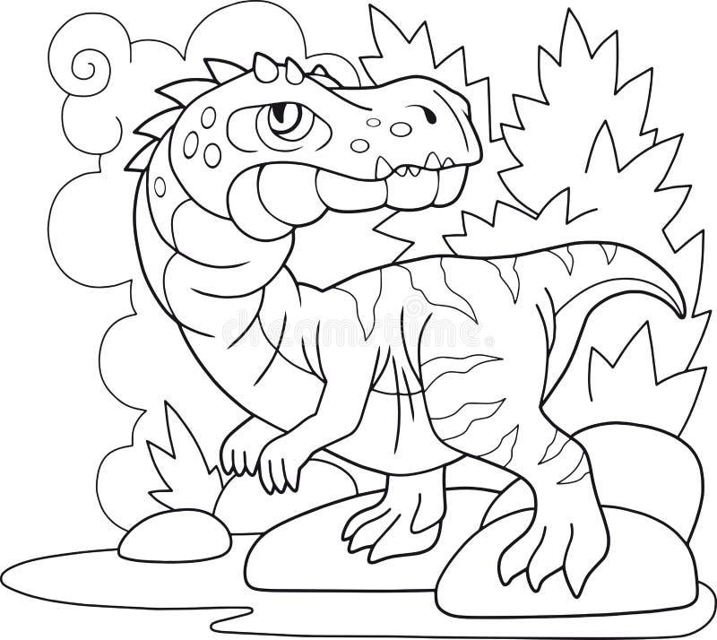 Prehistoryczny dinosaura baryonyx, kolorystyki książka, śmieszna ilustracja ilustracji