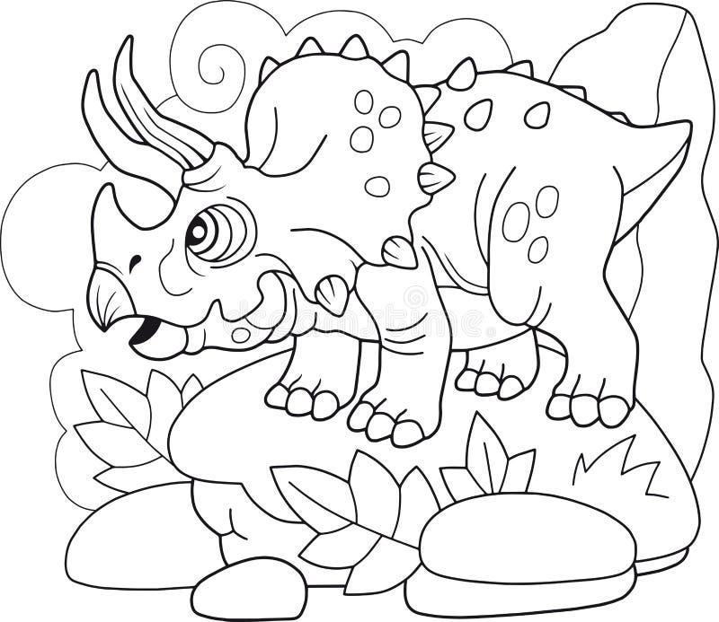 Prehistoryczny dinosaura Triceratops, kolorystyki książka, śmieszna ilustracja royalty ilustracja