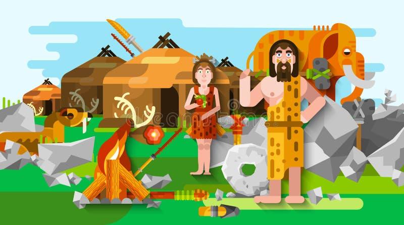 Prehistoryczny ery kamienia łupanego Caveman skład royalty ilustracja
