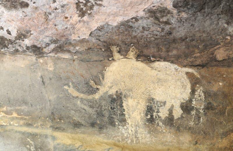 Prehistoryczny jama obraz w Bhimbetka, India -. fotografia stock