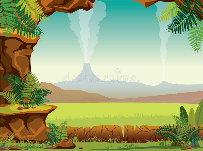 Prehistoryczny krajobraz - jama, paproć, wulkan royalty ilustracja